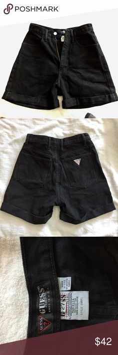 VINTAGE GUESS black jean shorts These are in perfect condition and are truly a special piece of clothing ... high waisted vintage guess, runs small!! The waist on these is 26!!! But they have a large amount of room for butt and thighs. Offers and questions welcome ! Guess Shorts Jean Shorts