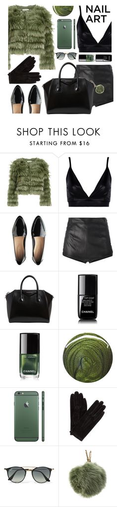"""Nail art: black and green"" by lina-horan69 ❤ liked on Polyvore featuring beauty, Alice + Olivia, Boohoo, La Perla, Givenchy, Chanel, Jin Soon, John Lewis, Ray-Ban and Furla"
