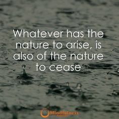 Whatever has the nature to arise is also of the nature to cease.