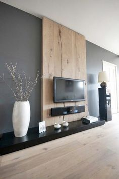 High design living room TV wall buy black and solid wood tv stand - A true work of art, the living room wall TV stand designed by Designxtutti, furnish your living roo - Living Room Grey, Home Living Room, Living Room Designs, Living Room Decor, Apartment Living, Tv Wall Decor, Modern Wall Decor, Wall Tv, Wall Decorations