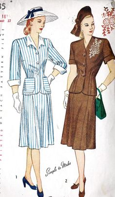 1940s Misses Two Piece Dress Vintage Sewing Pattern with Emboridery Transfer Simplicity 1935 Bust 37""