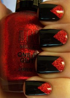 GOTH Dark Glamour ✤ :: Gothic Black and Red Glitter Nail Art