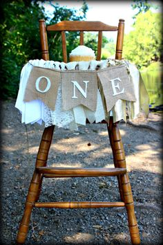 I am ONE birthday highchair banner/Ombre/Pink and gold/Burlap/Lace/Smash cake/First birthday/Onederland/Boy or Girl/Photography prop/Rustic