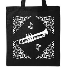 Trumpet Personalized School Tote Bag  Custom Music Class Book Bag  Trumpet Horn Personalized Tote Bag