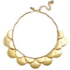 Rental kate spade new york accessories Sweetheart Scallops Necklace ($20) ❤ liked on Polyvore featuring jewelry, necklaces, gold, long necklace and polish jewelry