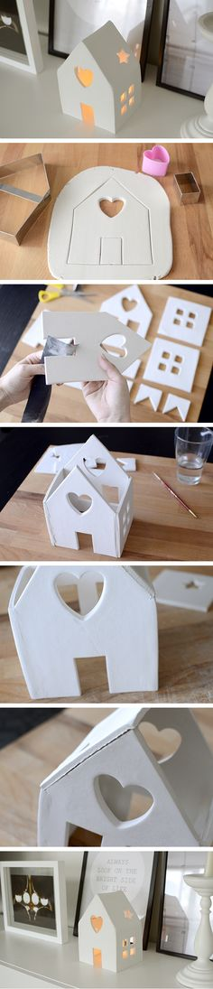 Amazing DIY Votive Candle Holder Ideas DIY House Candle Holder With Air Dry Clay. Make this cute house candle holder with air dry clay! Perfect decor for your holiday party. Bringing a beautiful glow to any environment. House Candle Holder, Diy Candle Holders, Kids Crafts, Diy And Crafts, Kids Diy, Decor Crafts, Easy Crafts, Wood Crafts, Art Decor