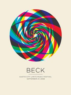 Beck Concert Poster  at the Austin City Limits Music Festival  Sept 27, 2008  hand made four color silkscreen print  poster measures 18 inches x 24 inches  hand signed limited edition  artist:  Jason Munn (The Small Stakes)
