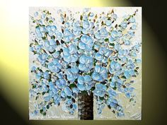 """""""Blue Blossoming Bouquet"""" - Original, Pale Blue Spring Floral, Blossoms in Vase, Flower Abstract Textured 30x30"""" Palette Knife Painting. Blue Brown White floral, wedding bouquet painting, w/ olive Green, Cream, grey & silver accents. Modern Palette Knife Painting, Original, contemporary textured, palette knife painting. Hand-painted. Beautiful, vibrant, wonderful texture! Acrylic on 30x30x1.5"""" Gallery wrapped canvas"""