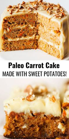 Paleo carrot cake made with sweet potatoes instead of flour 159 calorie gluten free carrot cake This cake is so delicious you wont even know its healthy Whipped lemon fro. Dessert Sans Gluten, Bon Dessert, Paleo Dessert, Healthy Desserts, Dessert Recipes, Dinner Recipes, Clean Eating Desserts, Crockpot Recipes, Baking Recipes