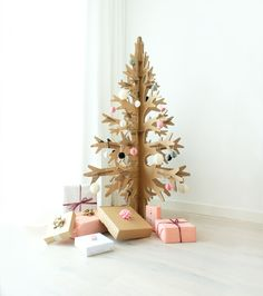 This is alternative christmas tree made of recycled cardboard. And yes, it comes in white and green, too Cardboard Tree, Cardboard Christmas Tree, Used Cardboard Boxes, Xmas Tree, Scandinavian Christmas Decorations, Modern Holiday Decor, Christmas Tree Decorations, Christmas Time, Christmas Crafts