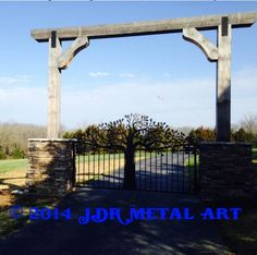 Custom Driveway Gates by JDR Metal Art for Homes Farms Ranches & Estates - Steel Iron & Aluminum Gates - Custom Driveway Gates - JDR Metal Art - Iron Steel & Aluminum - Home Farm Ranch & Estate Driveway Sign, Driveway Entrance, Driveway Landscaping, Driveway Ideas, Landscaping Ideas, Farm Entrance, Garden Entrance, Entrance Ideas, Front Gates