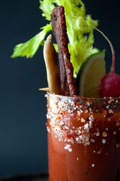 Best recipe for a bloody mary. Our Spicy Bloody Mary with Candied Bacon is easy to make using spicy V8 juice and spices, candied bacon & vegetables.