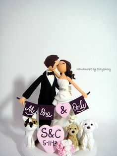 Romantic- Customized wedding cake topper with the dogs and the cat