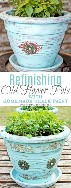 Refinishing Old Flower Pots | DIY flower pot makeover | Homemade chalk paint | Painted, stenciled and distressed terracotta planters | Planter makeover using jewelry and diy chalk paint | Transformed planters | Free paint color code | Before & After | TheNavagePatch.com