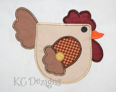 Hen 06 Machine Applique Embroidery Design - 4x4, 5x7 & 6x8