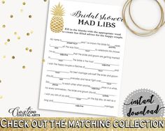 Mad Libs Game Bridal Shower Mad Libs Game Pineapple Bridal Shower Mad Libs Game Bridal Shower Pineapple Mad Libs Game Gold White 86GZU - Digital Product #bride #bridal