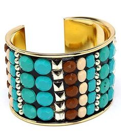 Studded Turquoise or Coral Color Tribal Cuff Bracelet