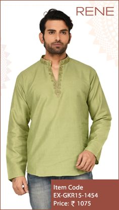 #Exclusive #EthnicWear #Design #Traditional #Trendy #Kurta #Men #Green #Ootd #Outfit #Fashion #Style #ReneIndia #Brand available on #Flipkart #Snapdeal #paytm