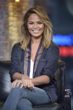 Chrissy Teigen's shoulder skimming long bob is  perfect, and a great place to start if you're unsure about shorter hair.