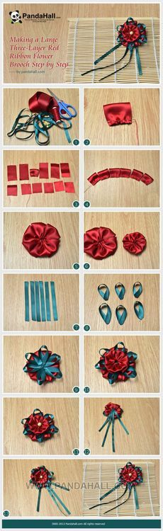Making a Large Three-Layer Red Ribbon Flower Brooch Step by Step - Making a Large Three-Layer Red Ribbon Flower Brooch Step by Step - Ribbon Art, Ribbon Hair Bows, Diy Hair Bows, Diy Ribbon, Ribbon Crafts, Flower Crafts, Fabric Crafts, Ribbon Flower, Diy Wedding Flowers