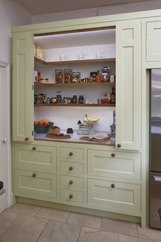 Pantry and Larder with bi-fold doors which reveal a space for food and appliances storage. Designed by Giles Slater for Figura – Kitcapfix Kitchen Pantry Design, Kitchen Pantry Cabinets, Kitchen Storage, Utility Room Storage, Cupboard Storage, Cupboard Doors, Base Cabinets, Kitchen Ideas, Kitchen Appliances