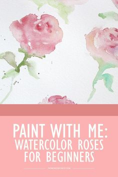 Drawing Roses Paint With Me: Watercolor Roses - Wonder Forest - After so many requests for more painting tutorials for beginner watercolor enthusiasts, I've finally created a new video showing you how to easily create these simplified roses! Watercolor Flowers Tutorial, Watercolor Projects, Watercolour Tutorials, Watercolor Techniques, Watercolour Painting, Painting Tutorials, Beginning Watercolor Tutorials, Painting Flowers, Watercolor Artists