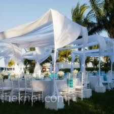 outdoor blue and white wedding