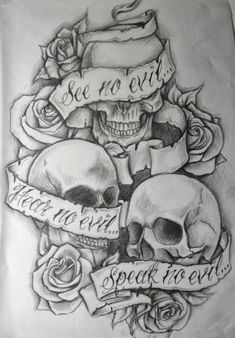 See no evil, Hear no evil, Speak no evil skull tattoo design . - See no evil, Hear no evil, Speak no evil skull tattoo design More You are in the right place abo - Evil Skull Tattoo, Evil Tattoos, Skull Tattoo Design, Skull Design, Tatoos, Girly Skull Tattoos, Rosary Tattoos, Bracelet Tattoos, Demon Tattoo