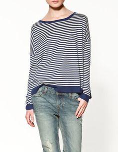 Zara striped sweater w/elbow patches
