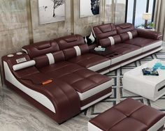 Ultimate Couch - Giant leather sectional couch with integrated massage chair - couch with speakers, couch with bookcase - Incredible Sofa Genuine Leather Sofa, Modern Leather Sofa, Leather Sofa Set, Modern Sofa, Real Leather, Cow Leather, Cama Design, Chaise Longue Design, Leather Couch Sectional