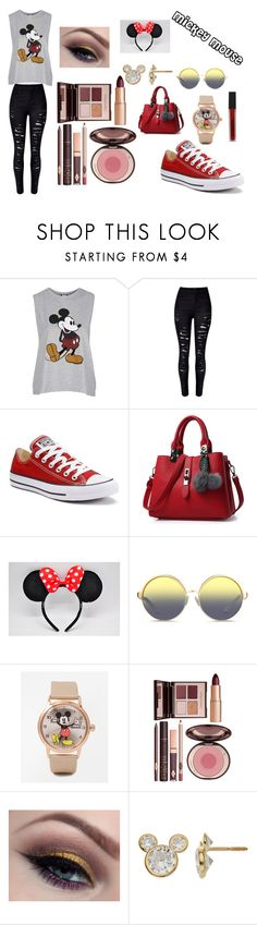 """""""Mickey Mouse"""" by amp31001 on Polyvore featuring Topshop, WithChic, Converse, Matthew Williamson, Disney, Charlotte Tilbury, Smashbox, disney, disneybound and mickeymouse"""