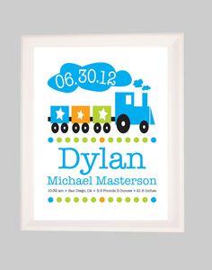 Personalized Childrens Custom Nursery Wall art,  Birth Announcement Print, Art for Nursery, Birth Stats Print, Baby Name Print , Train. $18.00, via Etsy.