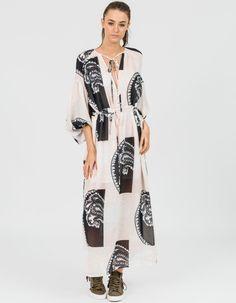 Manuela Peasant Maxi Dress - Nude/Black