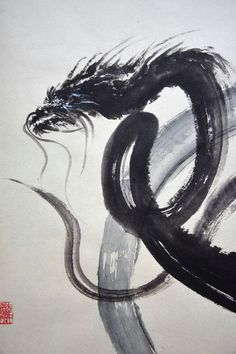 Dragon Dragon Painting Sumi-e Abstract Painting by SamuraiArt