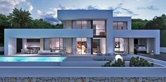 Your professional purchasing agent, for the best first-line villas and building plots. Be Spoiled properties, new build, renovations and investments Spain. Modern Architecture House, Architecture Design, Modern Villa Design, Modern House Plans, Facade House, Home Fashion, Building Design, Exterior Design, Facade Design