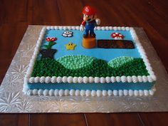 This cake was requested for a young boy's birthday. It was vanilla with buttercream frosting decorations and a plastic Mario Cake Topper.