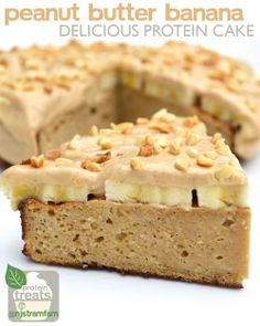 Gluten Free // Peanut Butter and Banana Delicious Protein Cake!! Recipe by @Nicolette S - Get It HERE >> http://giantsportsproducts.tumblr.com/post/74285579270/banana-delicious-protein-cake #banana #protein #cake #recipe