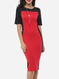 Color Block Elegant Round Neck Bodycon-dress
