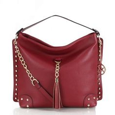212bc6b83075 Welcome To Our Michael Kors Stud Tassel Large Wine Red Shoulder Bags Online  Store Michael Kors