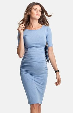 In coral Isabella Oliver Ruched Maternity Dress available at #Nordstrom