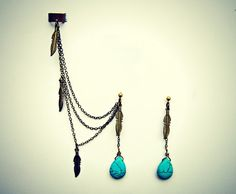 ear cuff with turquoise drop and feather earrings by alapopjewelry, $26.00