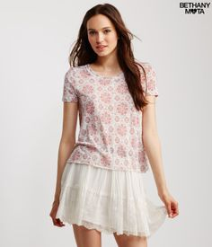"""I love wearing my Sheer Floral Medallion Print Graphic T with leggings on lazy, laid-back days. Its light and flowy fabric feels incredibly comfy, and the boho print is seriously adorbs. Post a selfie for me, xoxo Beth<br><br>Relaxed fit. Approx. length: 22""""<br>Style: 6667. Imported.<br><br>100% polyester.<br>Machine wash/dry flat.<br><br>Model info: Height: 5'10"""" 