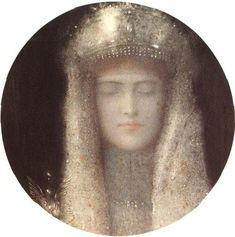 Fernand #Khnopff on Quattrocento Benozzo Gozzoli (Italian, Florence, c.1421–1497), The Middle King, 1459–1461, Magi Chapel of Palazzo Medici-Riccardi, Florence. https://en.wikipedia.org/wiki/Benozzo_Gozzoli#/media/File:Palaio.jpg Fernand Khnopff (1858-1921), The Silver Tiara, 1911