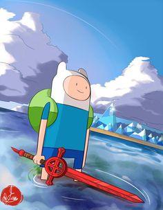 Finn nas águas de Ooo, por Saintwizard