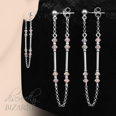 Long Sterling Silver Swarovski Crystal AB2X by DiscreetlyBizarre