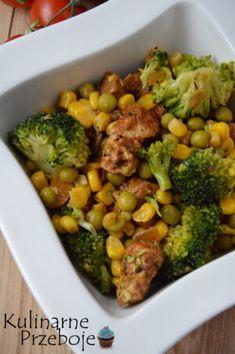 Sałatka z brokułem i groszkiem - KulinarnePrzeboje.pl Broccoli, Vegan Recipes, Food And Drink, Menu, Tasty, Lunch, Snacks, Vegetables, Cooking