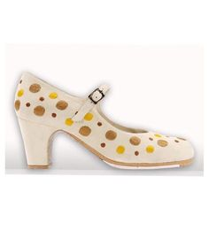 Topos bordados white leather - flamenco shoes professional - Begoña Cervera