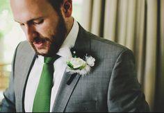 green tie grey suit