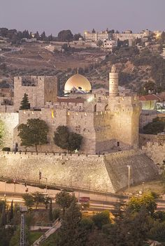 Dome of the Rock with Tower of David Museum, at Jaffe Gate in Jerusalem's Old City, Israel.