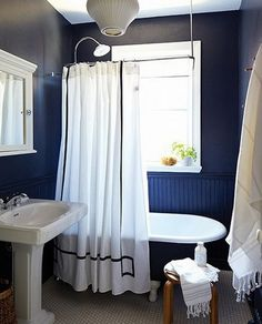 Navy blue paint color for small bathroom
